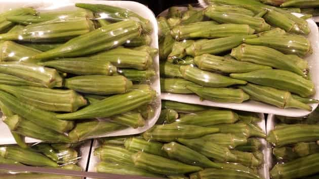 fresh okra from farm